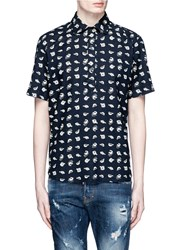 3X1 'Sushi' Print Short Sleeve Cotton Shirt Blue