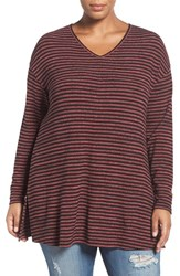Sejour Plus Size Women's Stripe Knit Tunic Black Pink Stripe
