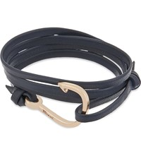 Miansai Hook Rose Gold Plated Wrap Bracelet Navy