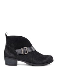 Ugg Wright Belted Suede And Genuine Sheepskin Lined Boots Black