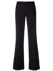 Pt01 Plaid Straight Tailored Trousers Black