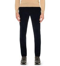 Gieves And Hawkes Slim Fit Tapered Corduroy Trousers Navy