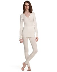 Hanro Woolen Silk Basic Long Sleeve Shirt Cygne Ivory