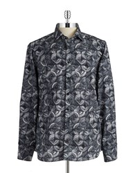 Pure Patterned Button Front Shirt Black