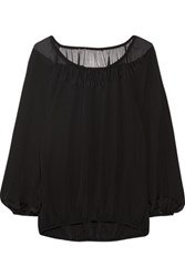 Tamara Mellon Off The Shoulder Chiffon Paneled Silk Top Black