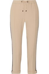 Brunello Cucinelli Bead Embellished Wool Blend Twill Track Pants Beige