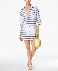 Dotti Tulum Striped Cover Up Shirt Women's Swimsuit Blue