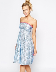 Lashes Of London Textured Bandeau Midi Skater Dress Bluefloral