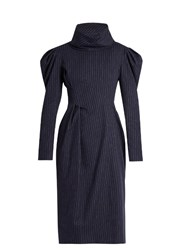 A.W.A.K.E. Funnel Neck Pinstriped Brushed Cotton Dress Navy White