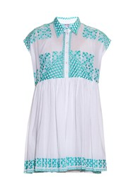Juliet Dunn Hand Embroidered Cotton Shirtdress