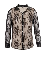 Morgan Floral Lace Overlay Blouse Black