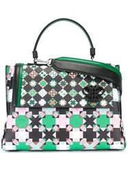 Emilio Pucci Geometric Pattern Medium Tote Black