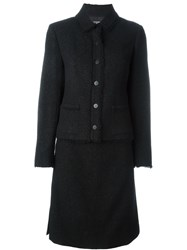 Chanel Vintage Tweed Skirt Suit Black