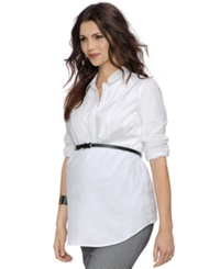 A Pea In The Pod Maternity Belted Tunic Corporate White