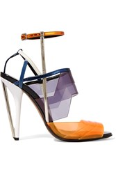 Fendi Iridia Pvc And Patent Leather Sandals Purple