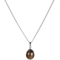 A B Davis 9Ct White Gold Chocolate Freshwater Pearl And Diamond Pendant Necklace