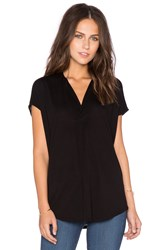 Heather Split Neck Top Black
