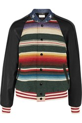 Saint Laurent Embellished Striped Wool And Linen Blend And Leather Bomber Jacket