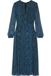 Burberry London Jennifer Snake Print Silk Chiffon Midi Dress Storm Blue