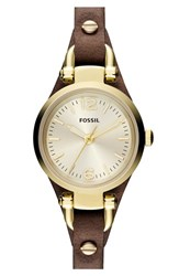 Fossil Women's 'Small Georgia' Leather Strap Watch 26Mm Brown Gold Brown Gold