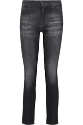 7 For All Mankind Roxanne Mid Rise Skinny Jeans Dark Gray