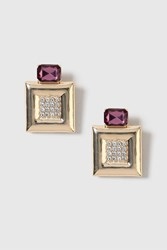Topshop Chunky Square Clip On Earrings Purple