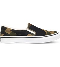 A Bathing Ape Camouflage Canvas Skate Shoes Green Oth