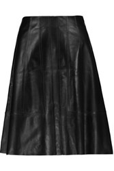 Proenza Schouler Flared Leather Mini Skirt Black
