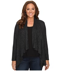 B Collection By Bobeau Curvy Plus Size Amie Waterfall Cardigan Charcoal Grey Women's Sweater Gray