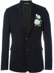 Christian Dior Dior Embroidered Patch Blazer Blue