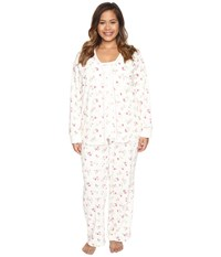 Carole Hochman Plus Size Three Piece Pajama Set Holiday Bouquet Twin Women's Pajama Sets White