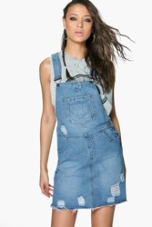 Boohoo Ella Denim Ripped Dungaree Dress Mid Blue