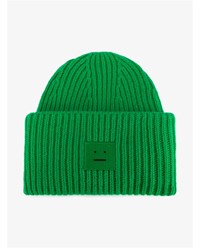 Acne Studios Pansey Wool Beanie Hat Green Bright Green Clotted Cream