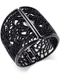 Bar Iii Jet Tone Lace Filigree Hinged Bangle Bracelet Only At Macy's