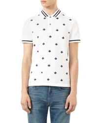 Gucci Bee Embroidered Polo Shirt Ink