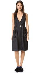 Sjyp Pinstripe Dress Black