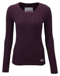 Superdry Croyde Cable Crew Neck Jumper Purple