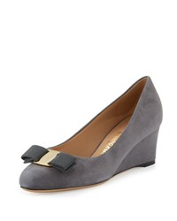 Salvatore Ferragamo Mirabel Suede Wedge Pump Smoke Fumee