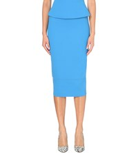 Roland Mouret Galaxy Wool Crepe Skirt Bright Blue
