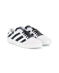 Off White Striped Leather Sneakers Black White Off White