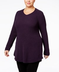 Styleandco. Style Co. Plus Size V Neck Waffle Knit Tunic Only At Macy's Dark Grape