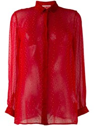 Marco De Vincenzo Embellished Sheer Shirt Red