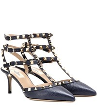 Valentino Rockstud Leather Kitten Heel Pumps Blue