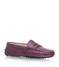 Tod's Mocassino Metallic Driving Shoe Female Purple