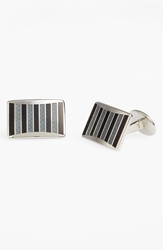 David Donahue Enamel Cuff Links Silver Black Grey