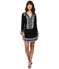 Hale Bob State Of The Arts Crepe Dress With Embroidery Black Women's Dress