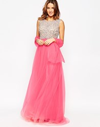 Forever Unique Kaitlyn Maxi Prom Dress With Embellished Bodice Coral