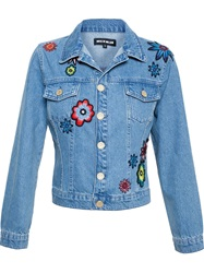 House Of Holland Embroidered Denim Jacket Blue
