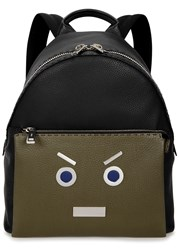Fendi No Words Black Leather Backpack Black And Grey