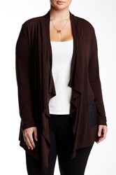 Point Zero Open Front Cardigan Plus Size Brown
